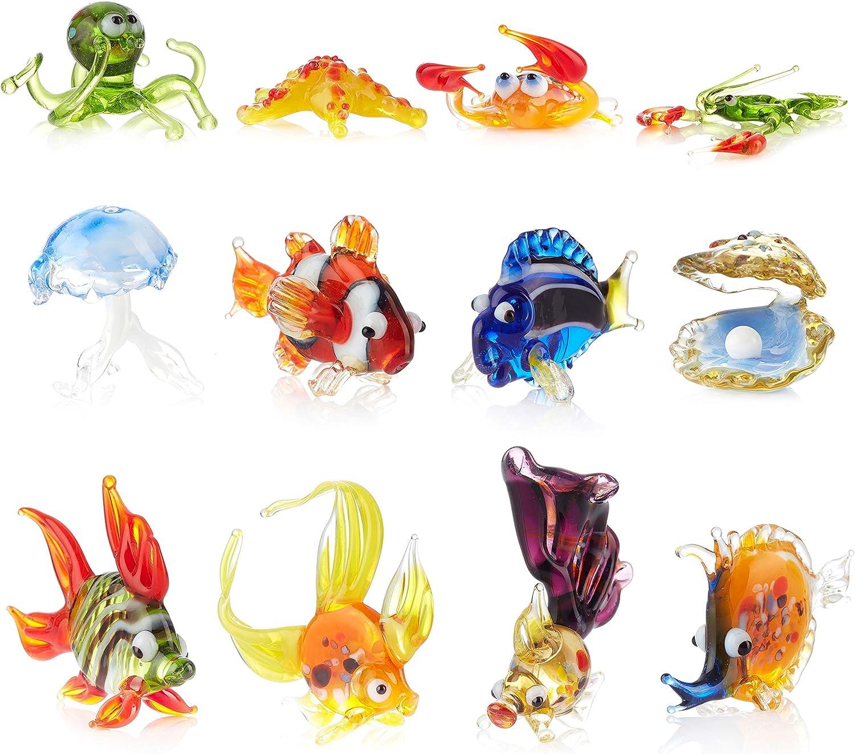 Aquarium Decorations Glass Figurines - Handmade Glass Blowing Colorful Water Animal Figure Fish Tank Ornaments (Multi, 12)