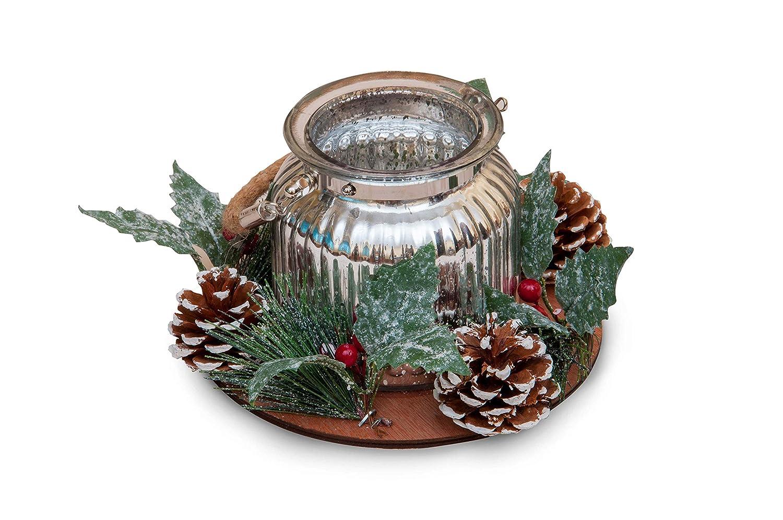 GoldenHome PORTACANDELA Lanterna Shinny - Idea Regalo Natale - CENTROTAVOLA - Porta TEALIGHT (Argento) Golden Group