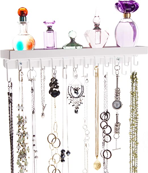 Wall Mounted Hanging Hook Earrings Holder Necklace Jewelry Display Organizer New