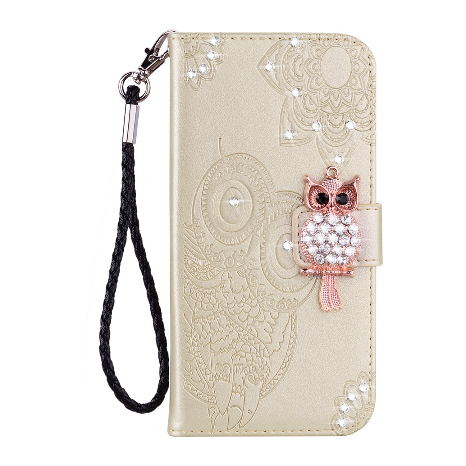 Strap Leather Case for LG Stylo 4//Q Stylus,Diamond Brown Wallet Flip Case for LG Stylo 4//Q Stylus,Herzzer Stylish 3D Owl Magnetic Cute Owl Printed Stand Shockproof PU Leather Case with Soft TPU