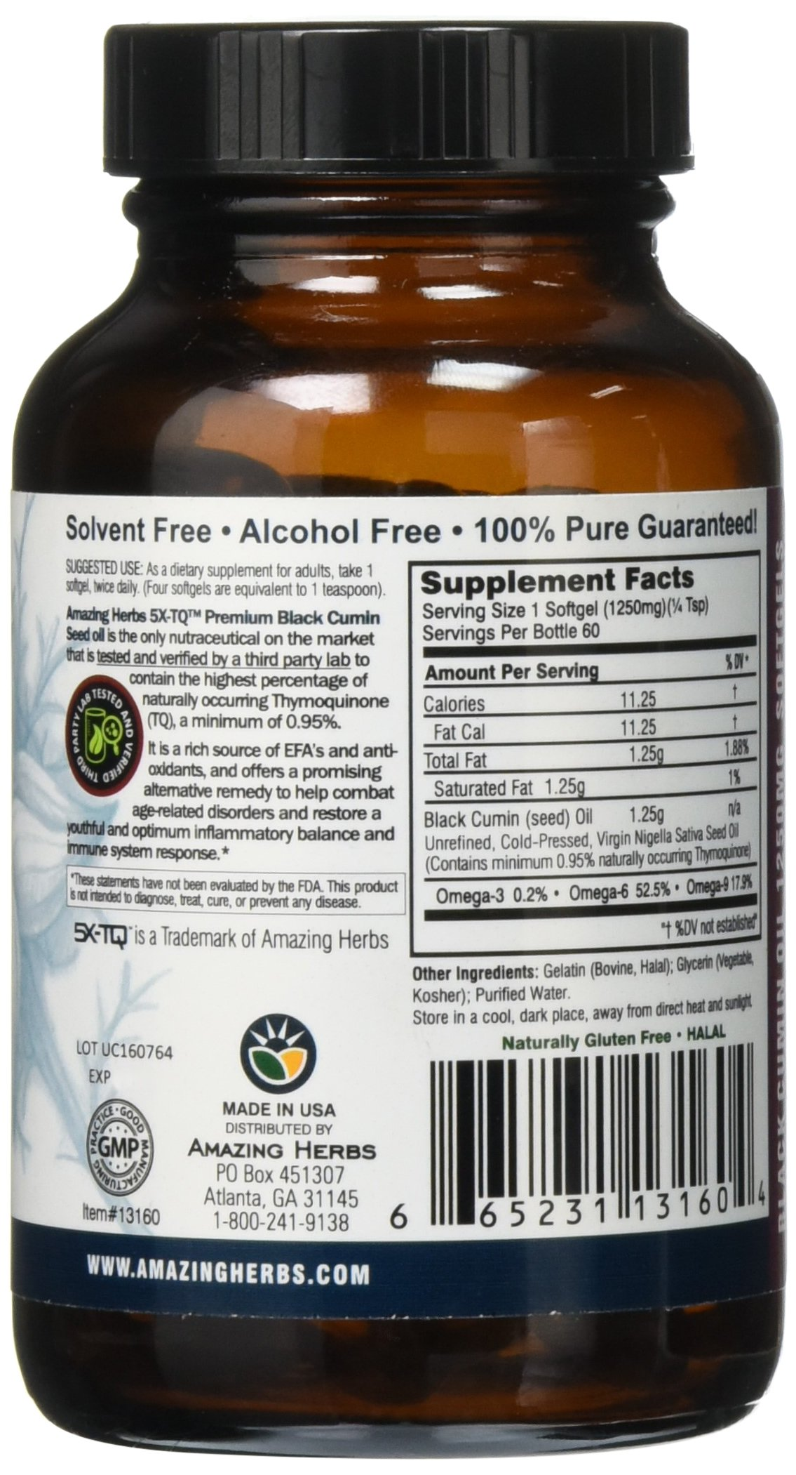 Amazing Herbs Premium Black Seed Oil Soft-Gels, 60 Count by Amazing Herbs (Image #4)