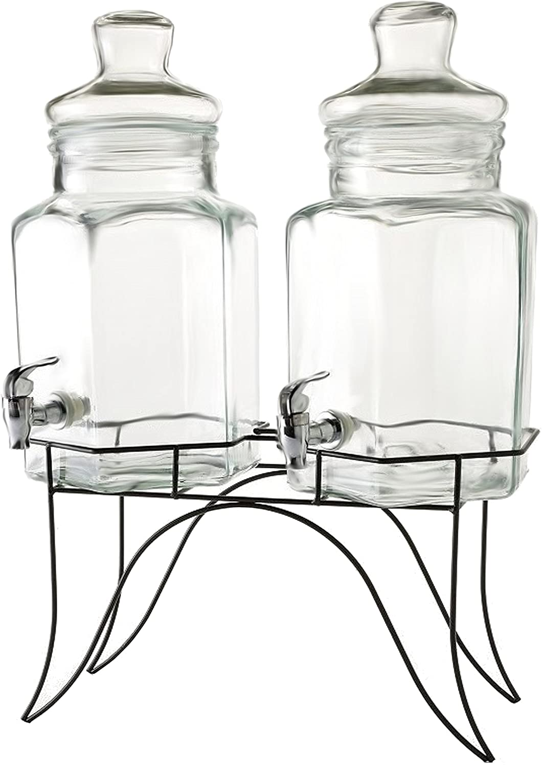 Circleware 66916 Double Beverage Dispensers with Stand and Spigot, Fun Party New Entertainment Home Kitchen Glassware Cold Drink Pitcher for Water, Punch & Iced Tea, 1.3/2.6 Gallon, Dopier 81vanjbpLaL._SL1500_