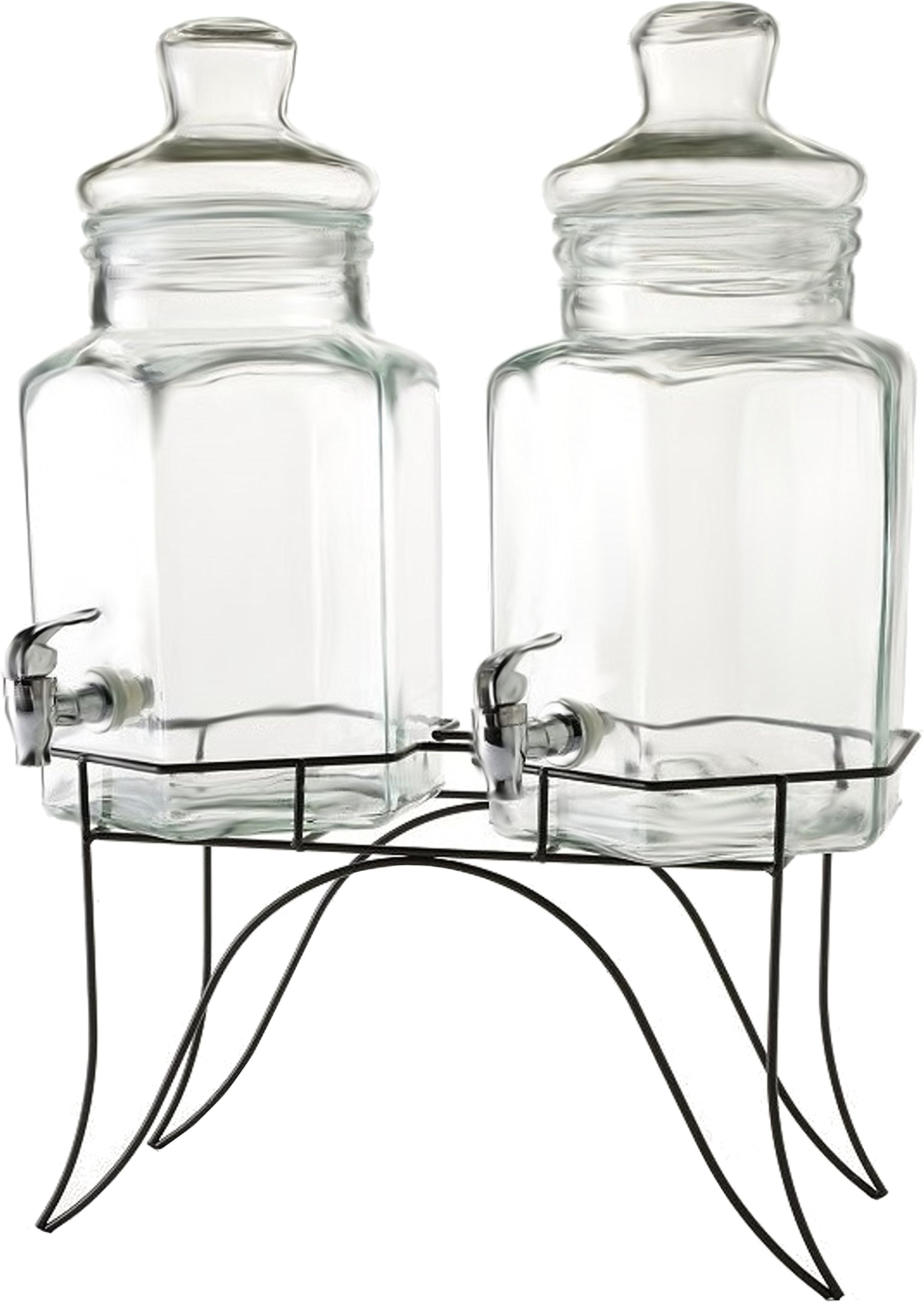 Circleware 66916 Double Beverage Dispensers with Stand and Spigot, Fun Party New Entertainment Home Kitchen Glassware Cold Drink Pitcher for Water, Punch & Iced Tea, 1.3/2.6 Gallon, Dopier