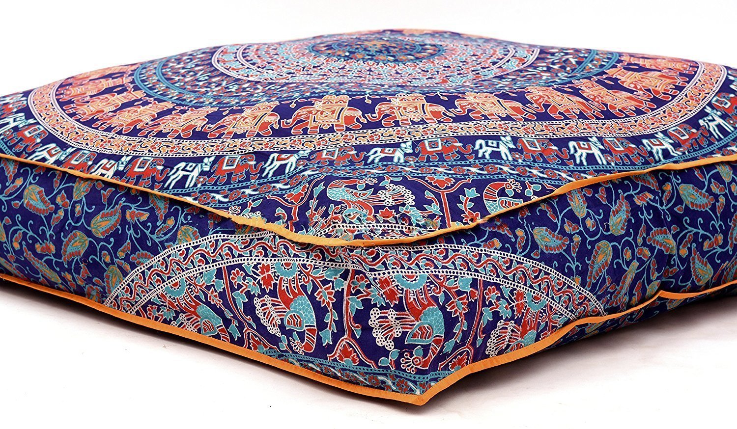 Large Indian Meditation Floor Pillow Cover 35'' X 35'' Inch Elephant Mandala Ottoman Cushion Dog Bed Outdoor Sofa Day Bed Kids Teen Floor Pillow