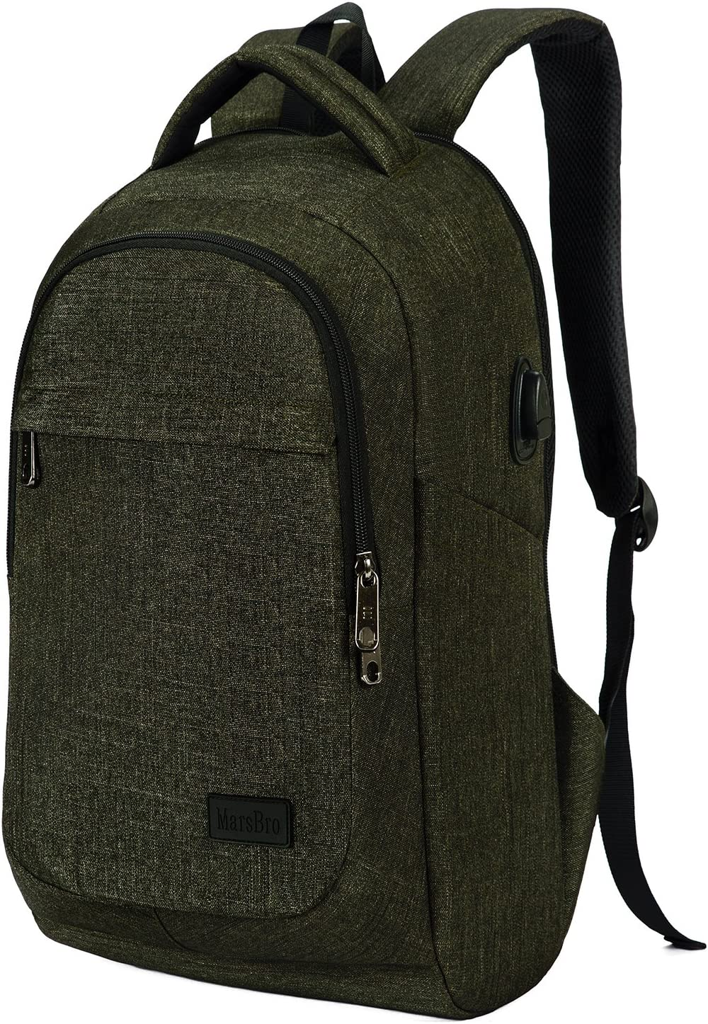 MarsBro Laptop Backpack, Business Computer Bag Travel College Water Resistant Anti Theft 15.6 Inch Bag for Men Women Army Green