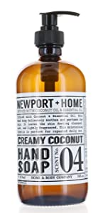 Newport + Home Hand Soap, Creamy Coconut 16 oz/473ml Infused w/Coconut Oil & Essential Oil by Home and Body Co