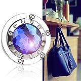 Bingsale Crochet de suspension pour sac à main Cristal saphir Bleu clair