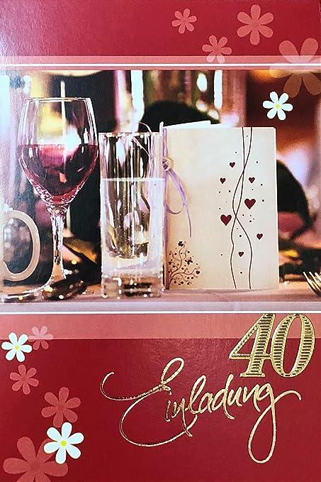 Tarjetas de invitación 40 cumpleaños mujer diseño sin texto ...