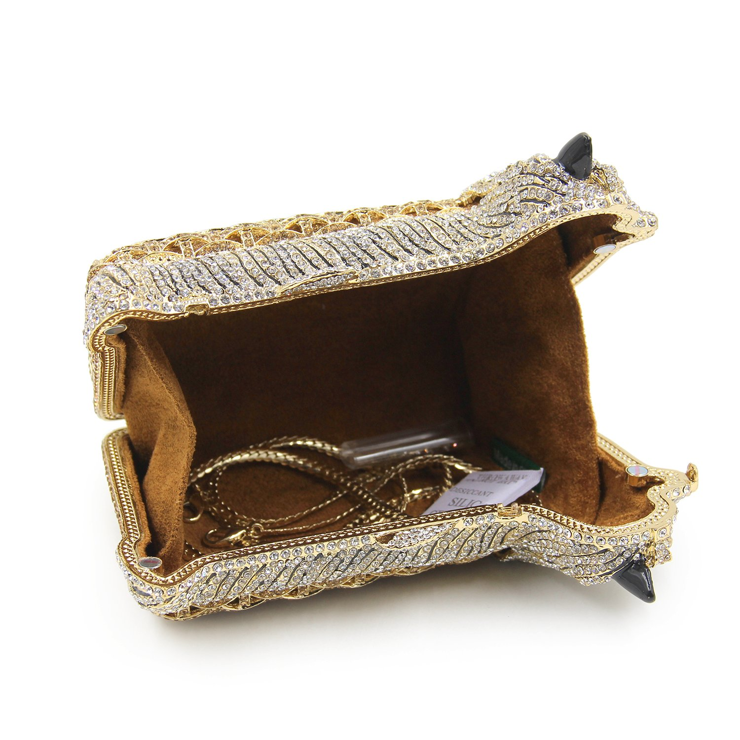 Milisente Women Evening Bag Puppy Crystal Clutch Purse Party Evening Handbag (Gold) by Milisente (Image #7)