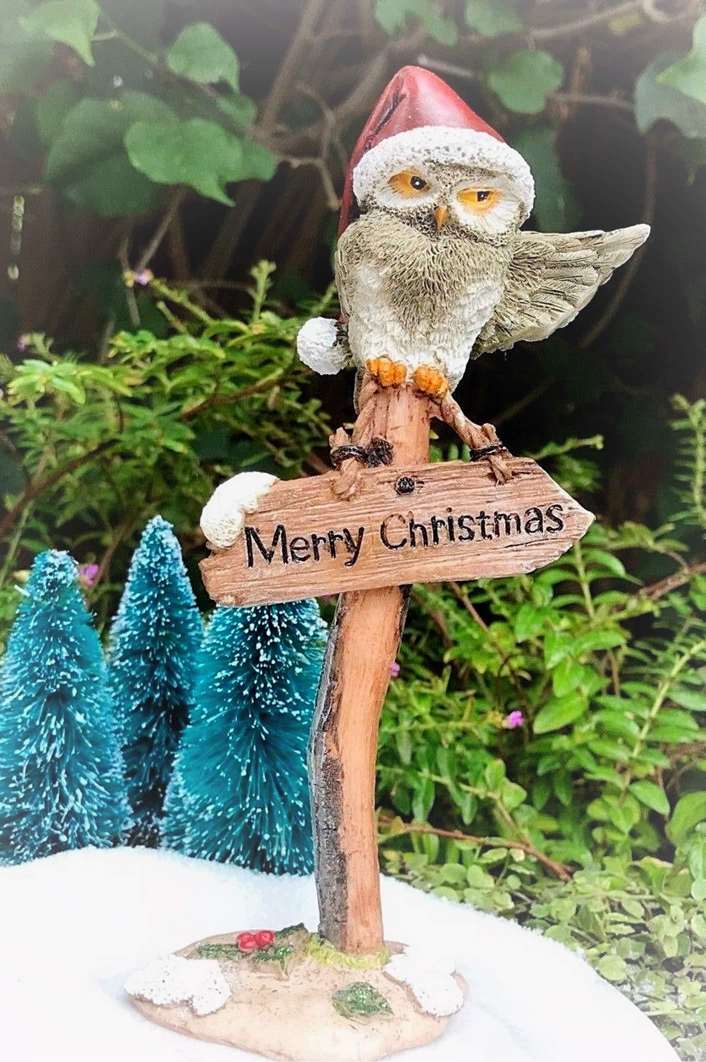 Miniature Figurine Mini Merry Christmas Owl on Sign Post Miniature Magic Scene Supplies Your Fairy Garden - Outdoor House Decor