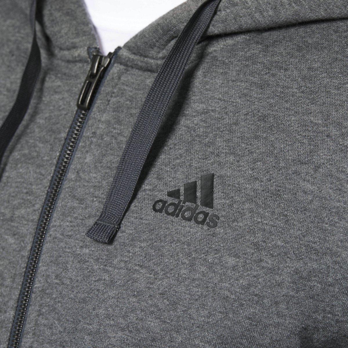 adidas Men's Athletics Essential Cotton 3 Stripe Full Zip Hoody, Dark Grey Heather/Black, 3X-Large