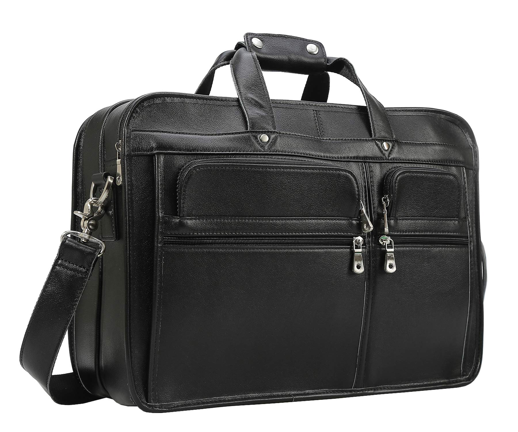Texbo Men's Solid Full Grain Cowhide Leather Large 17 Inch Laptop Briefcase Messenger Bag Tote (Black -Calfskin Leather)