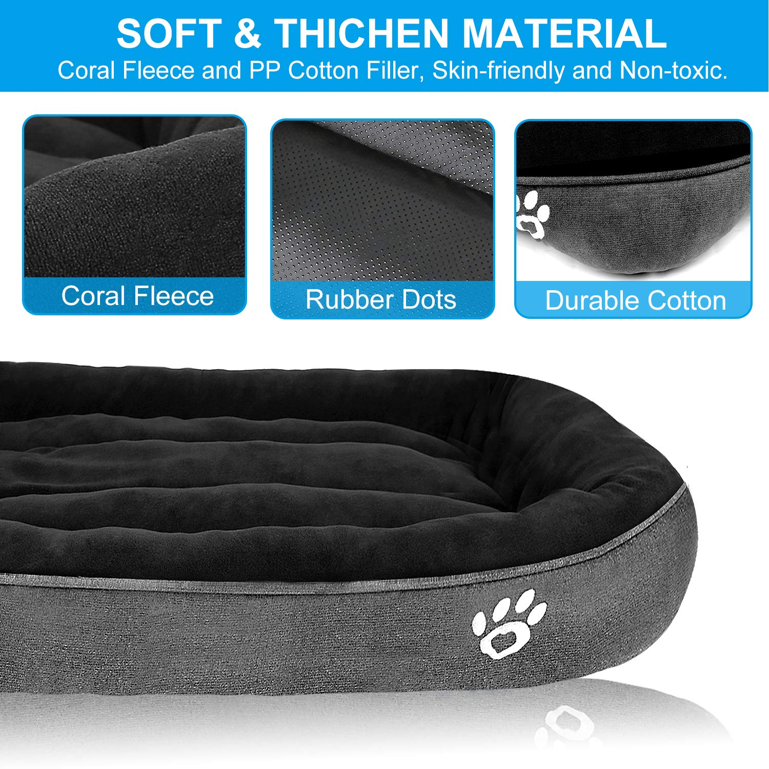 CLOUDZONE Large Dog Bed 43X32 Machine Washable Soft Coral Fleece with Non-Slip Bottom Oval Thicken Pet Bed for Extra Large and Medium Dogs or Multiple