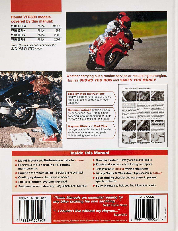 Haynes Manual 3703 Hon Vfr800 V Fours 97 99 Car Reading Wiring Diagram Motorbike