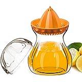Presse agrumes, Manuel Presse-citron Extracteur de jus récipient set avec couvercle, Tritan 100% Sans BPA, Convient pour Jus d'orange, de citron, Sûr pour Micro-ondes, au Congélateur et au lave vaisselle (0,60 Liter, Orange)