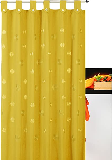 atenas home textile Cortina de baño Bordada con Trabillas Camelia 35% algodón 65% poliéster - 140x200 - Amarillo: Amazon.es: Hogar