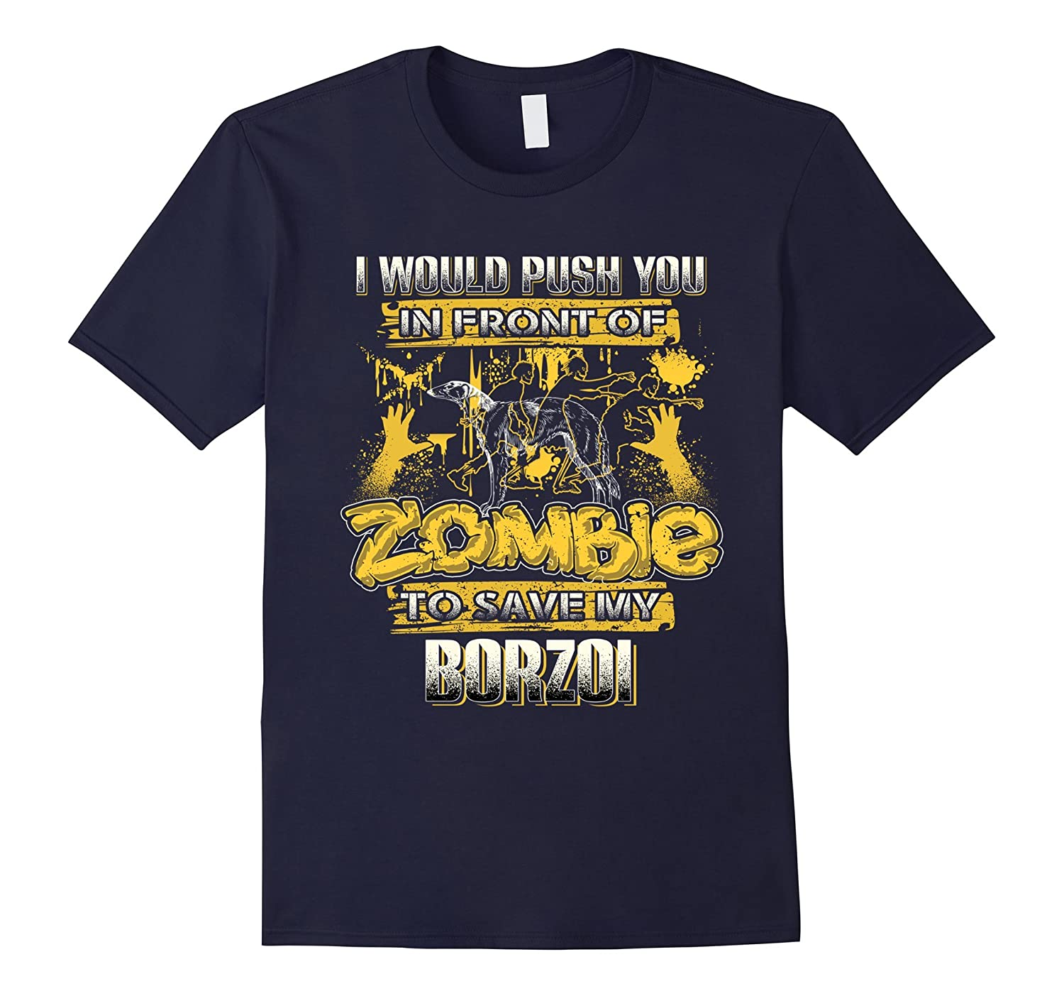 My Borzoi And Zombie Funny Tshirt-TH