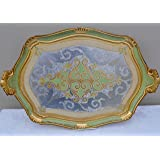 Authentic Florentine Gilded Oval Tray with Handles, Green, Large