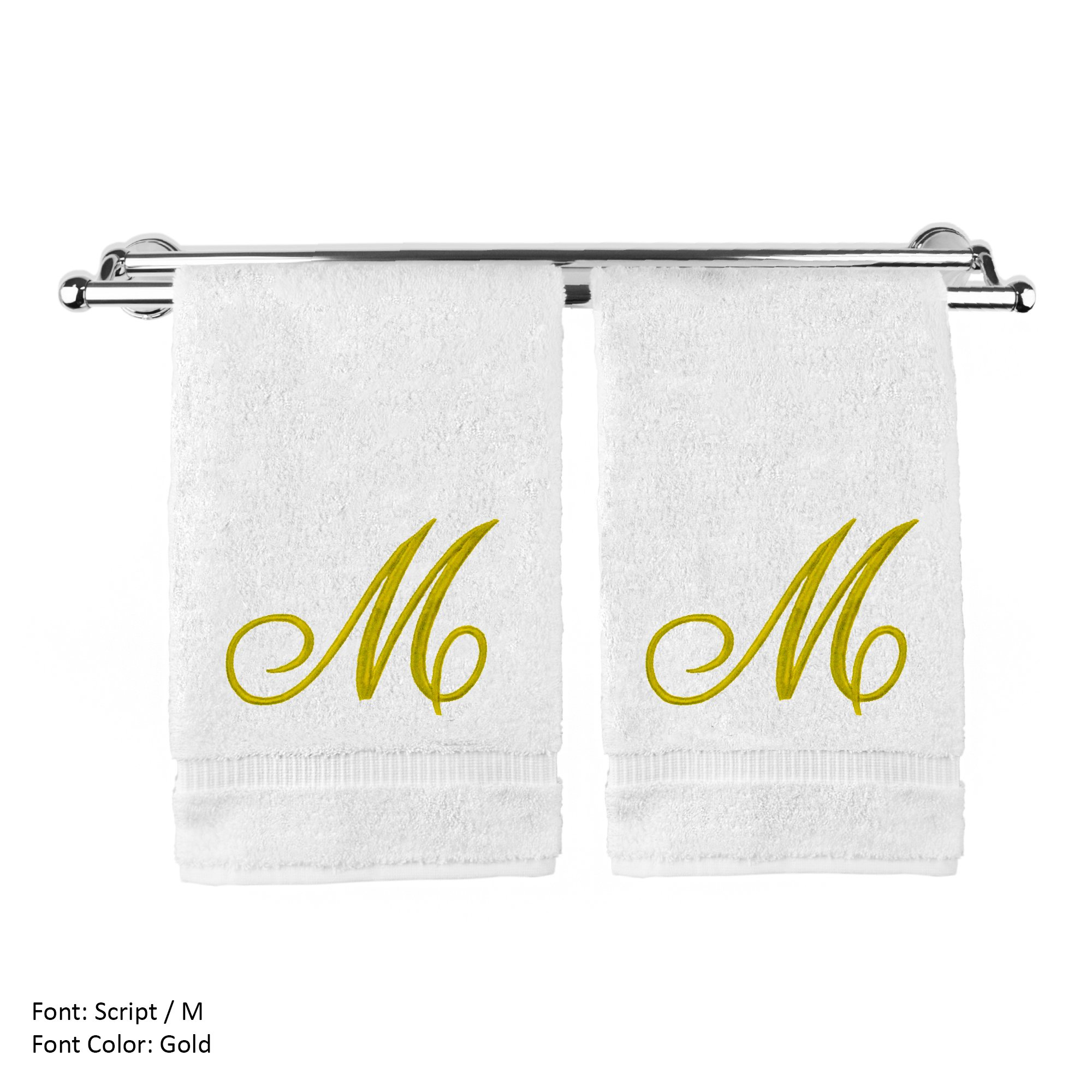 Monogrammed Hand Towel, Personalized Gift, 16 x 30 Inches - Set of 2 - Gold Embroidered Towel - Extra Absorbent 100% Turkish Cotton- Soft Terry Finish - For Bathroom, Kitchen and Spa- Script M White