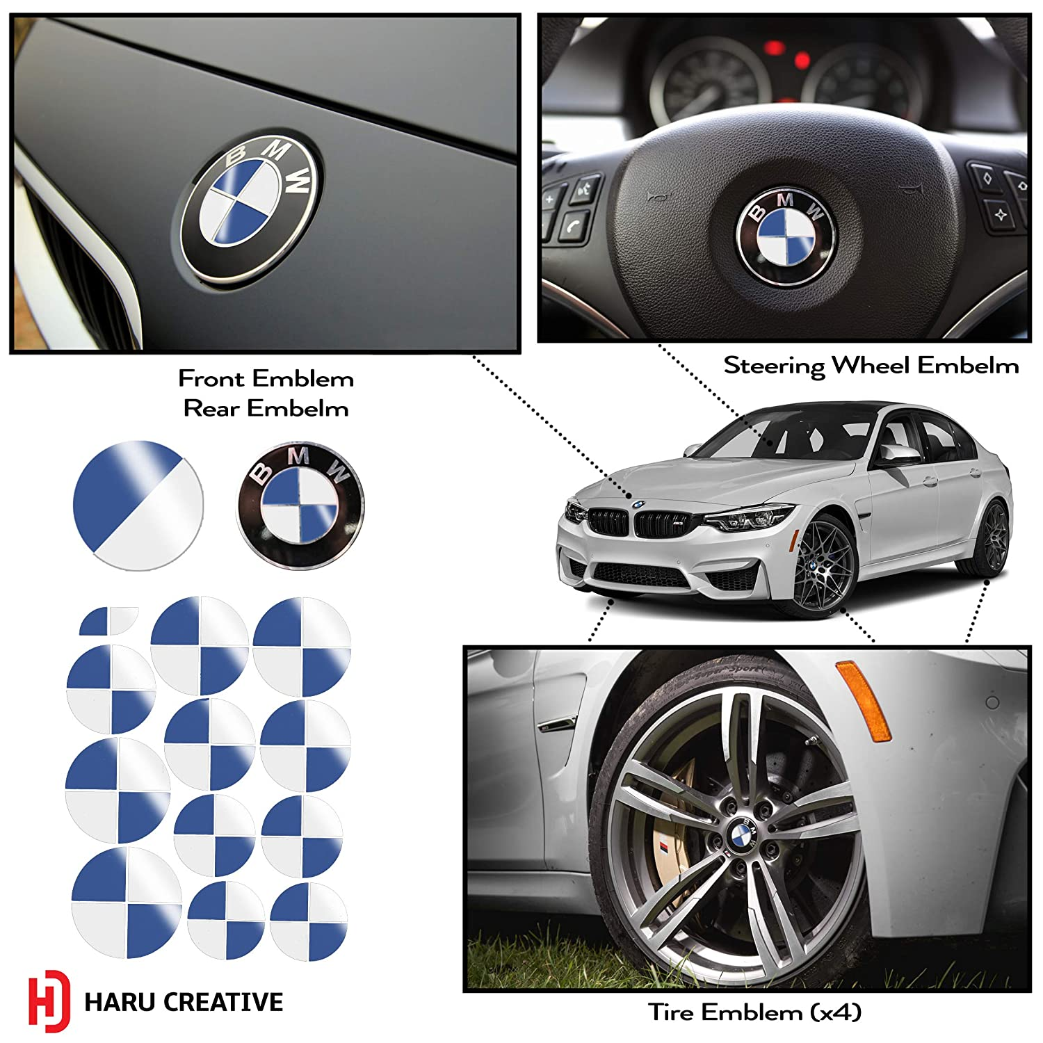 Vinyl Overlay Aftermarket Decal Sticker Compatible with and Fits All BMW Emblem Caps for Hood Trunk Wheel Fender - Gloss White and Blue Haru Creative Emblem Not Included