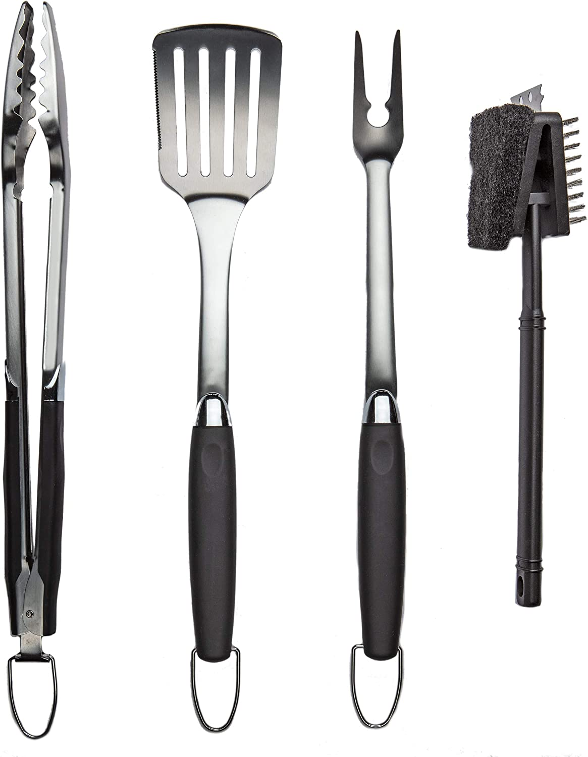 Simplistex Stainless Steel BBQ Grilling Tool Accessories Set w/Tongs, Spatula, Fork and Brush, for Outdoor Barbecue Grills (4 Piece Kit) : Garden & Outdoor