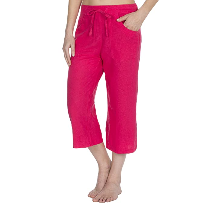 1c173f5bc86288 Metzuyan Ladies Linen Blend Beach Spring Summer Cropped Trousers Holiday 3/4  Length Crops Capri: Amazon.co.uk: Clothing
