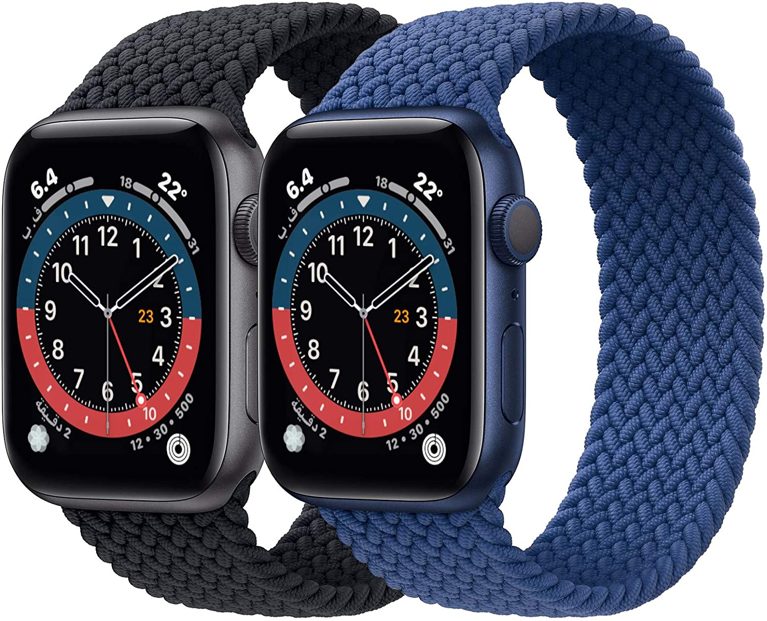 2 Pack Braided Solo Loop Sport Bands Compatible for Apple Watch Band 38mm 40mm 42mm 44mm soft Stretchy wristband Women Men Elastic strap Compatible for iWatch Series 6/SE/5/4/3/2/1, 38mm/40mm Large