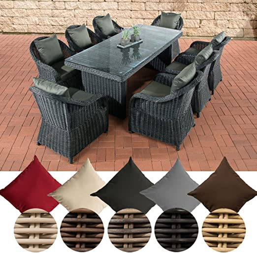 CLP/de mimbre juego de comedor sillones de jardín Lavello XL, 8 sillones con cojines de