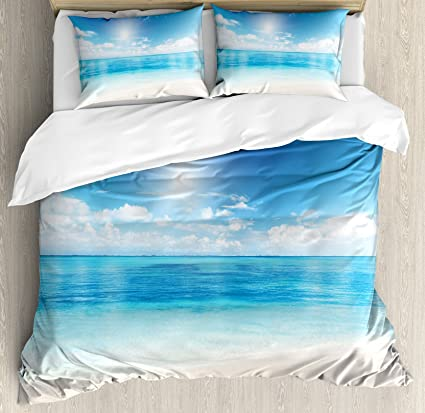 Amazon Com Ambesonne Ocean Duvet Cover Set Beach View From Caribbean Sea In A Sunny Day Exotic Summer Season Print Decorative 3 Piece Bedding Set With 2 Pillow Shams Queen Size Cream Turquoise