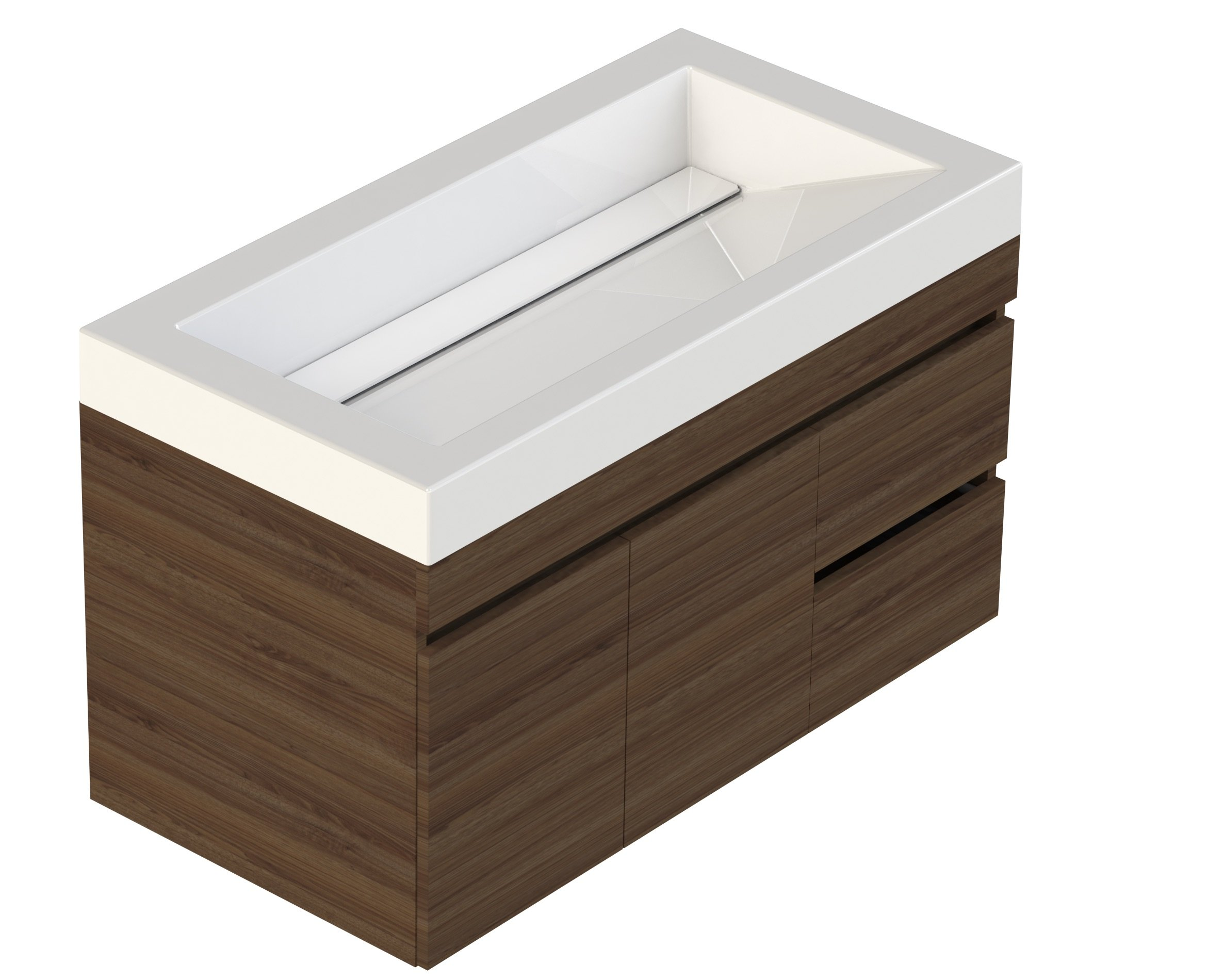 "Lift Bridge Kitchen & Bath 37VGENWAL Viteli Cabinet Vanity with Top, 37"", Walnut - Assembled Dimensions are 37.0 in. W x 19.0 in. D x 24.0 in. H Solid 5.0 in. Thick cultured marble vanity top with an integrated rectangular sink Drill-out faucet guides on the underside of the vanity top can easily accommodate a 4 in. Or 8 in. Faucet (sold separately) - bathroom-vanities, bathroom-fixtures-hardware, bathroom - 81vb1sNjM8L -"