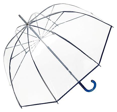 VON LILIENFELD® Paraguas Mujer Hombres Campana Transparente Translúcido Melina Azul