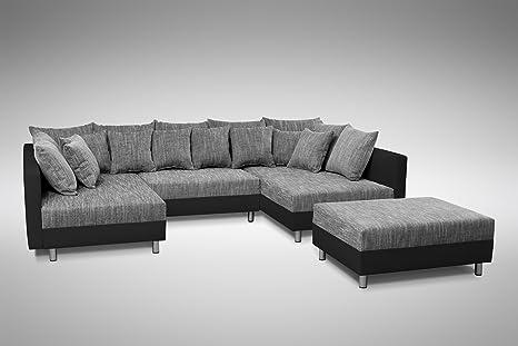 Sofa Couch Ecksofa Eckcouch In Schwarz Hellgrau Eckcouch Mit