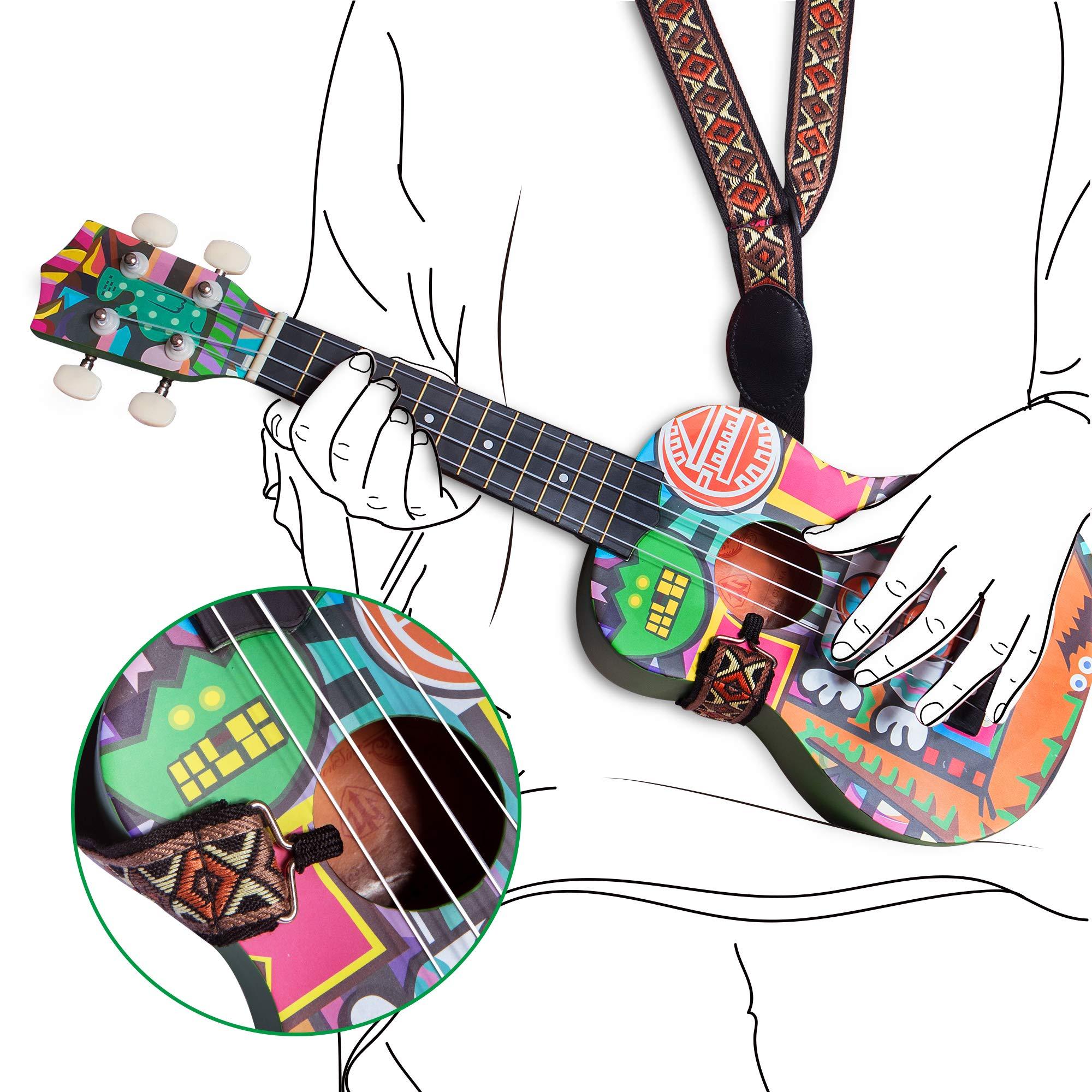 honsing Soprano Ukulele Kit with Gig Bag,Tuner,Strap and Pick,Novelty Doodle Tattoo