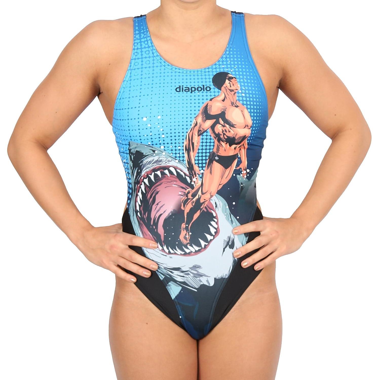 Diapolo Superheroes Human vs. Shark Badeanzug Comics Kollektion für Schwimmen Synchronschwimmen Wasserball Thriathlon