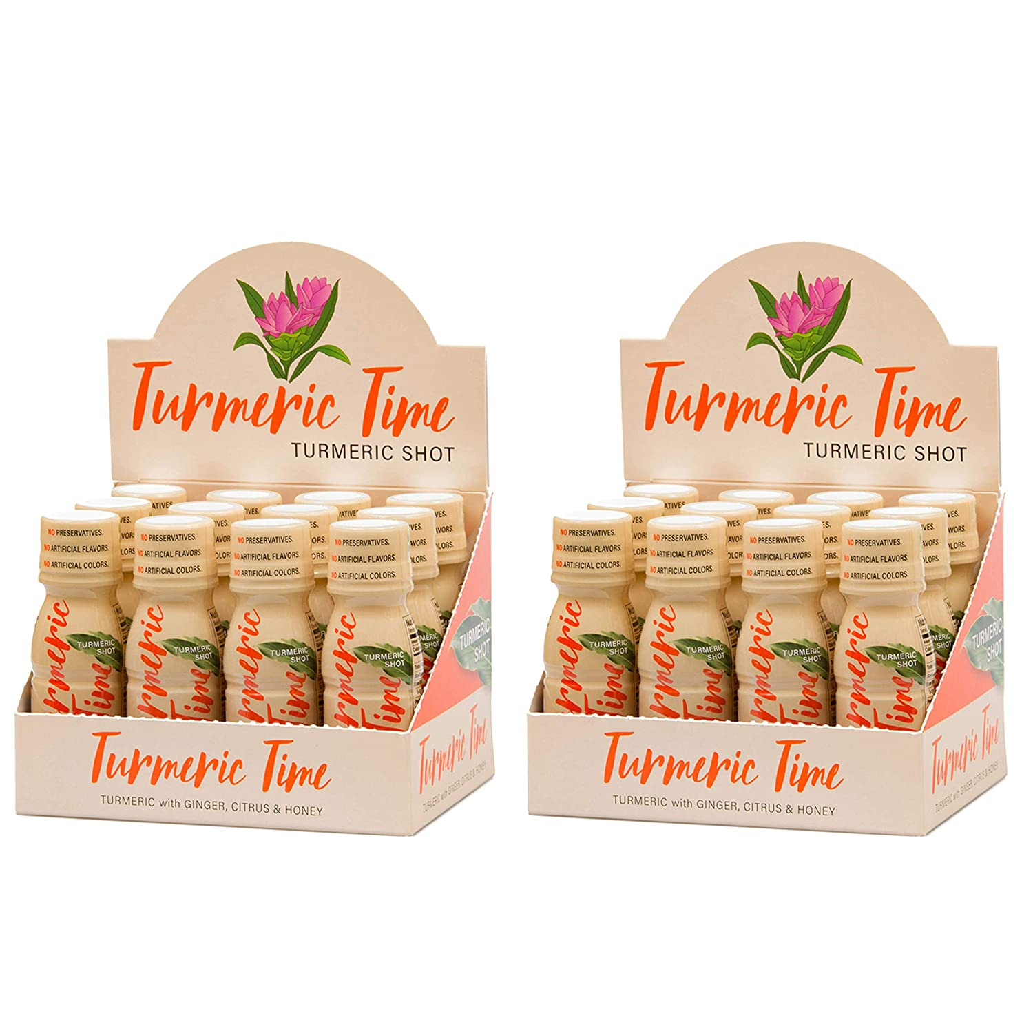 Turmeric Time Turmeric Shots – Turmeric with Ginger, Citrus Honey Non-GMO No Preservatives or Artificial Flavors Colors Sweeteners B Vitamins Liquid Turmeric 24 Pack