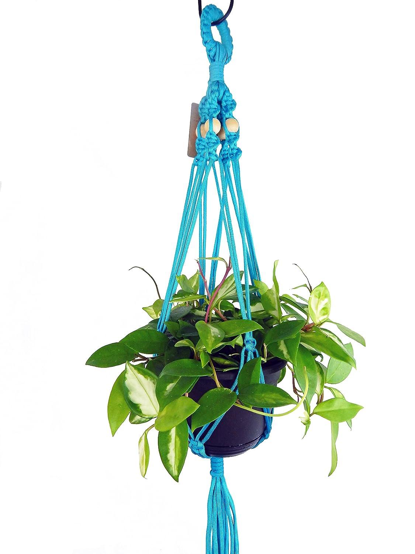 Macrame Plant Hanger 34 inch long Blue indoor outdoor hanging planter plant holders flower basket POT NOT INCLUDED
