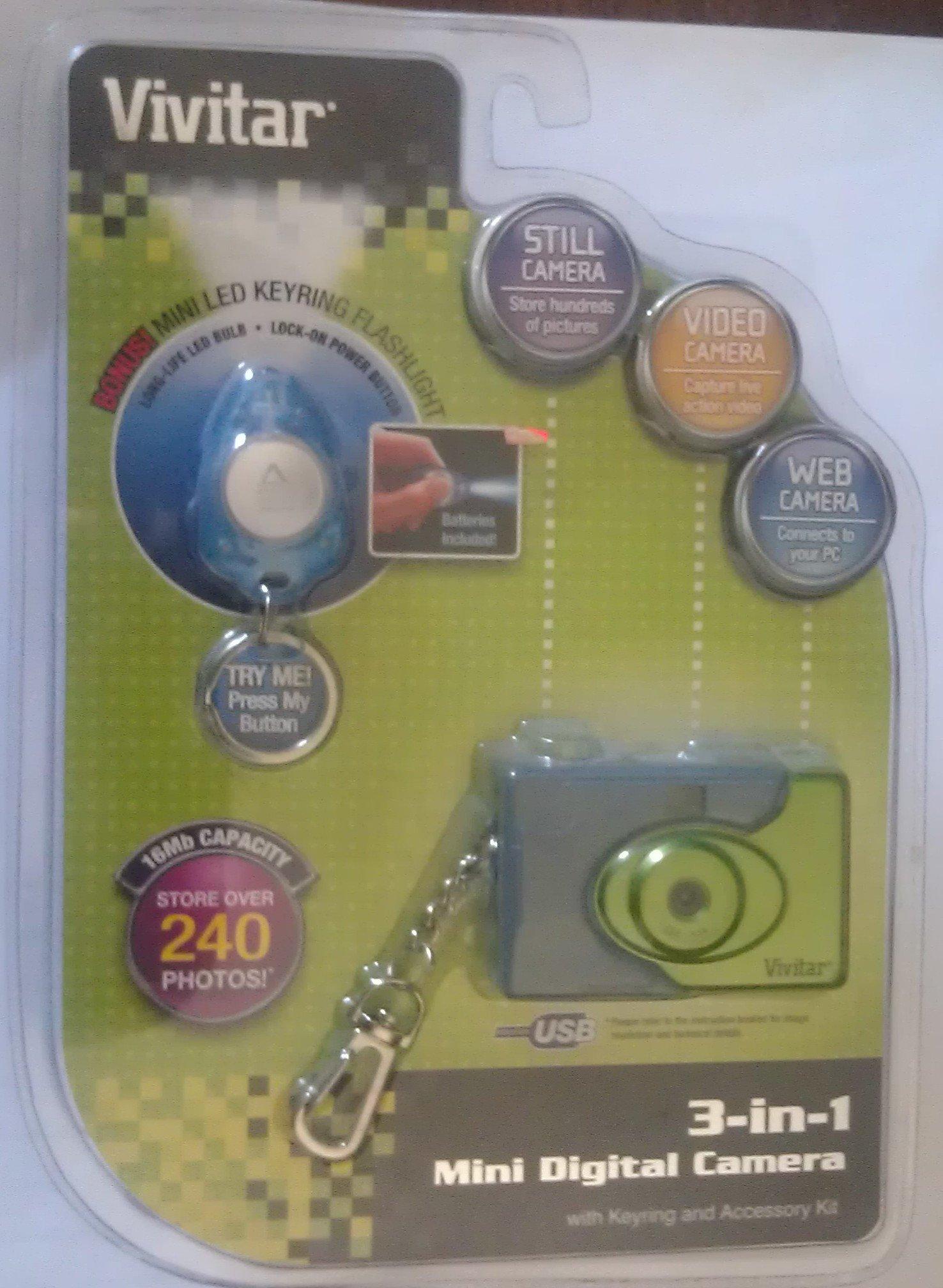 Vivitar 3-in-1 Mini Digital Camera with Flashlight - Blue