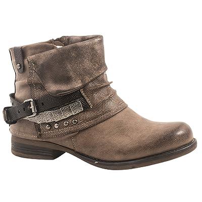 élara Femme Bottines pour femme | confortable Biker Boots | métallique Print Rivets | Chunky Ryan