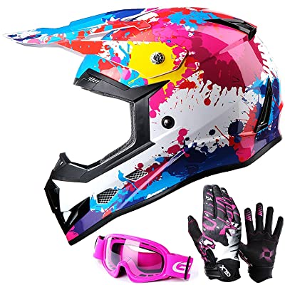 GLX Unisex-Child GX623 DOT Kids Youth ATV Off-Road Dirt Bike Motocross Helmet Gear Combo Gloves Goggles for Boys & Girls (Graffiti Pink, Small): Automotive