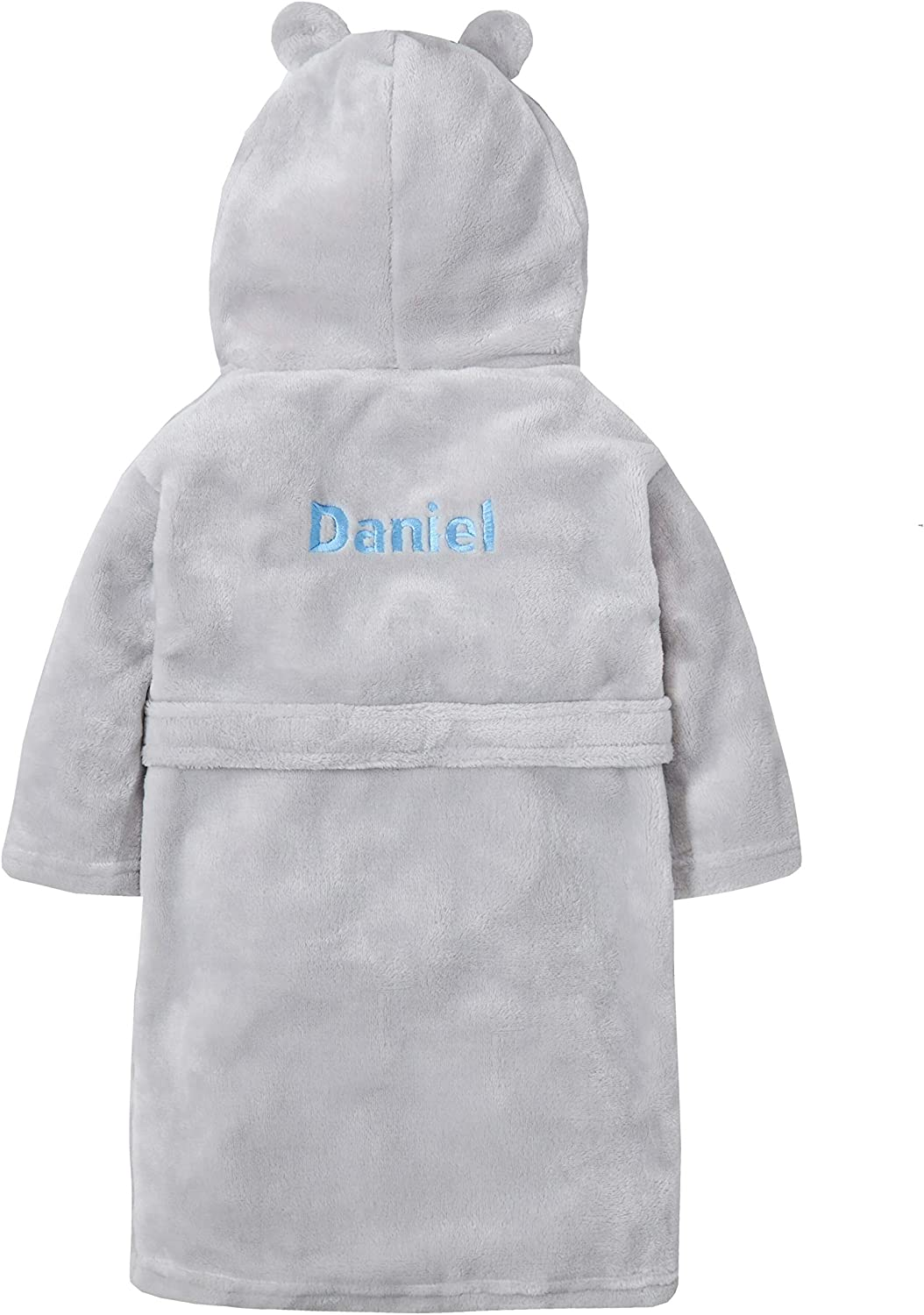 Hoolaroo Embroidered Personalised Soft Baby Blue Dressing Gown Bath Robe with Teddy Ears 6 Months-5 Years