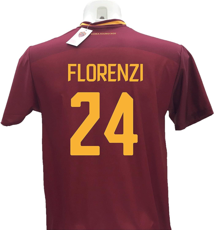 Camiseta de fútbol Florenzi 24 Roma réplica autorizada 2017-2018 niño (Tallas 2 4 6 8 10 12) Adulto (S M L XL) Nombre y número Impresos con termoadhesivo Naranja, Rojo, S: Amazon.es: Deportes y aire libre