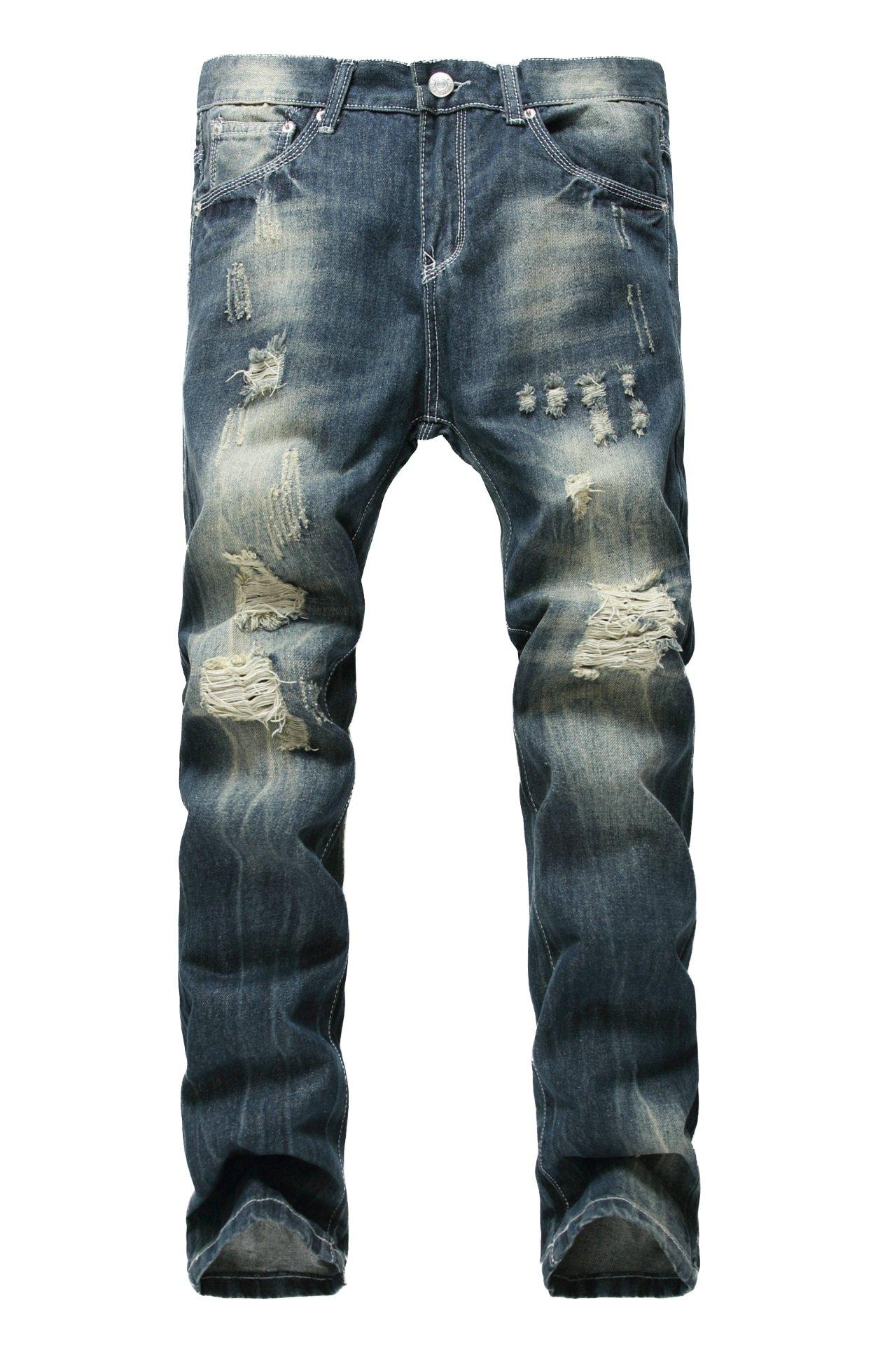 LAMCORD Men's Dark Blue Denim Ripped Slim Fit Skinny Jeans Biker Pants with Holes, W38