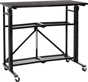 AmazonBasics Foldable Standing Computer Desk with Storage Shelf, Adjustable Height, Easy Assembly - Black
