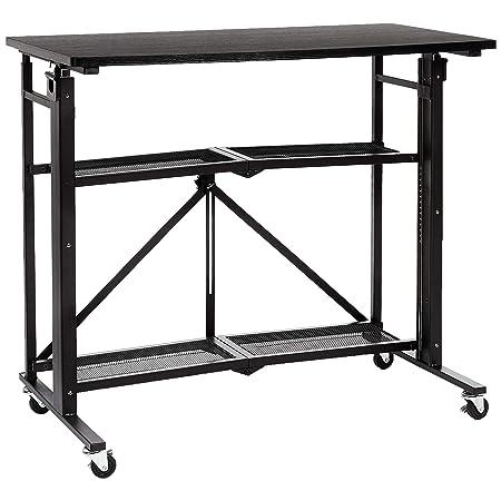 AmazonBasics - Mesa para ordenador, de pie, plegable, con estante ...