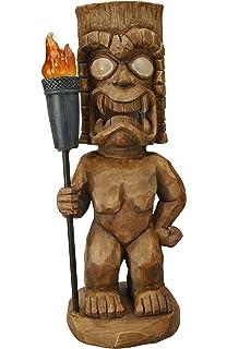Moonrays 95960 Tiki Themed Outdoor Solar Light, Garden Gnome, Tiki Warrior