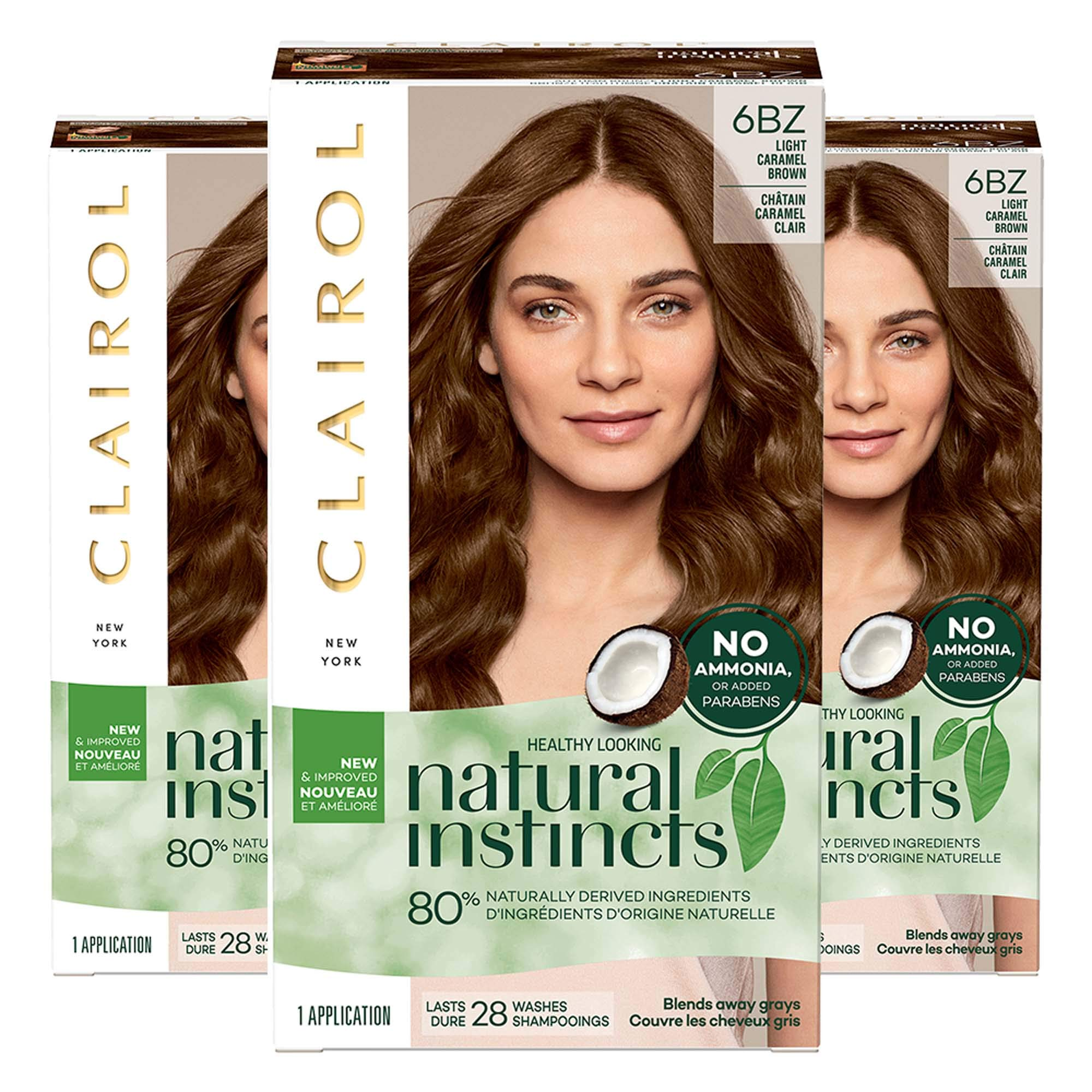 Clairol Natural Instincts Semi-Permanent Hair Color Kit (Pack of 3) 6BZ / 12A Navajo Bronze Light Caramel Brown, Ammonia Free, Long Lasting by Clairol