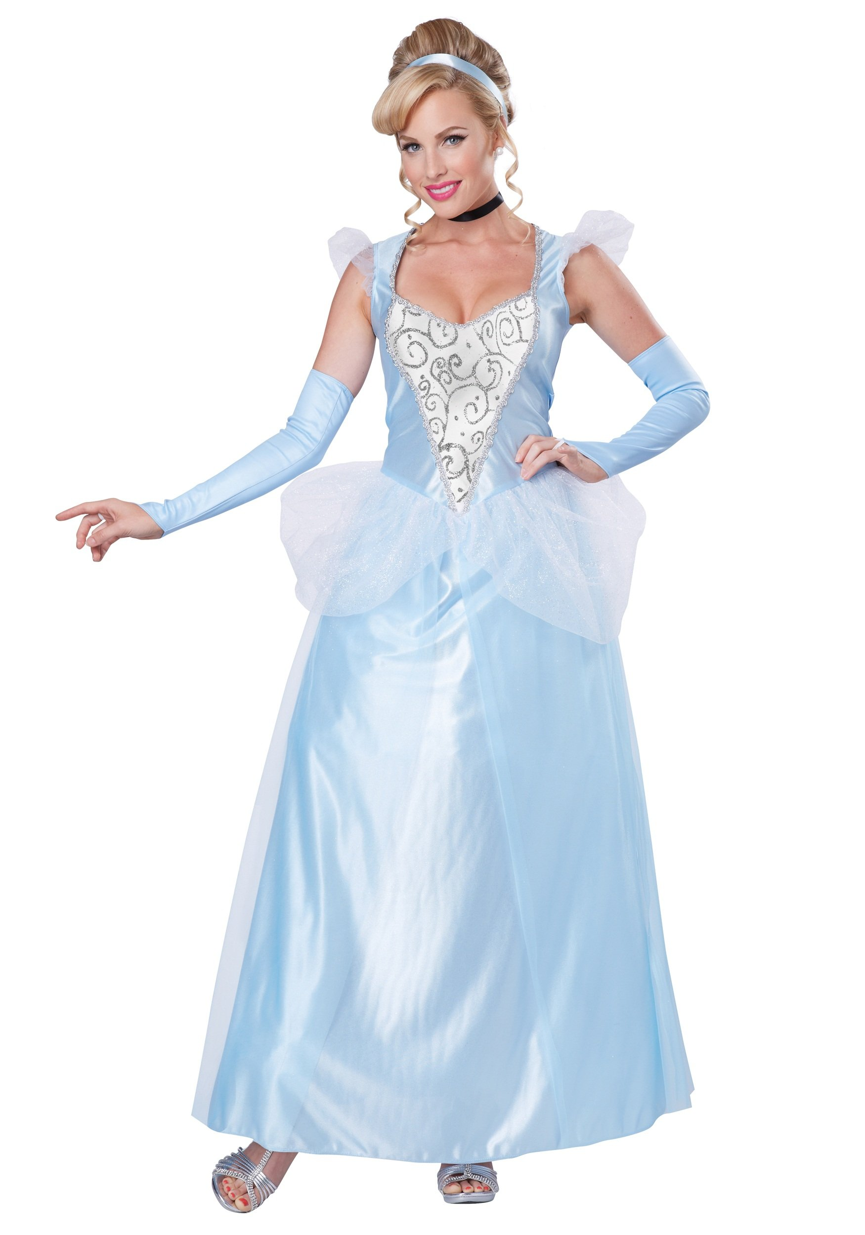 California Costumes Women's Classic Cinderella Fairytale Princess Long Dress Gown, Blue/White, Small