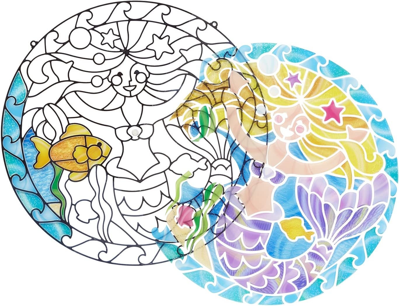 Stickers Multi-Colour Melissa /& Doug 19292 Mermaids Stained Glass Made Easy Activity Kit with 140