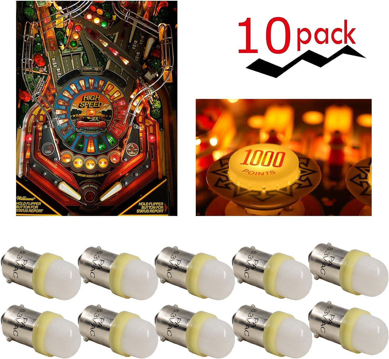 PA 10PCS #44#47 ba9s 2 SMD 2835 LED 6.3V DC Wedge Pinball Gaming Machine Light Bulb Yellow