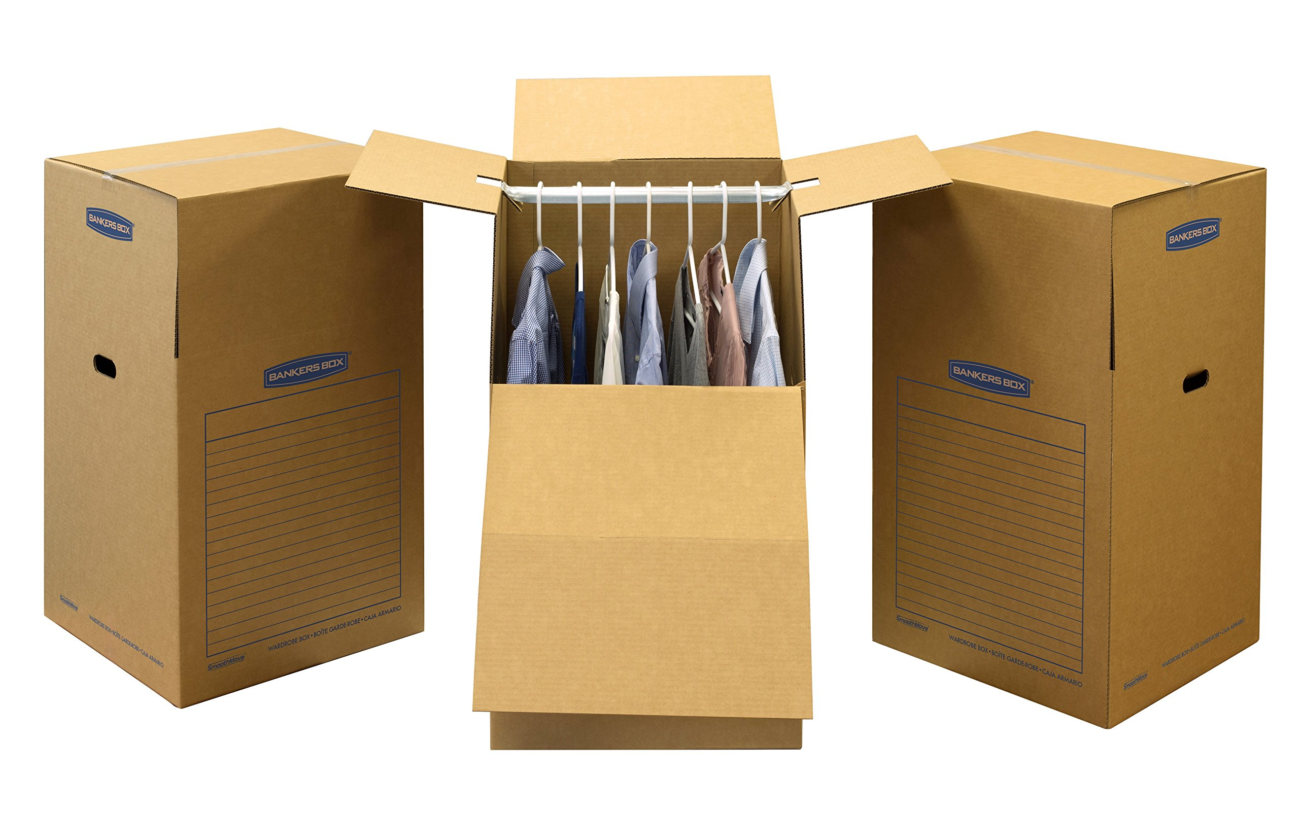 Bankers Box SmoothMove Wardrobe Moving Boxes, Tall, 24 x 40 Inches, 3 Pack (7711001) by Bankers Box